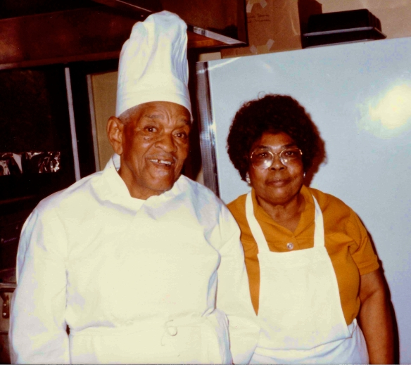 Andrew and Myrtle Davis in the kitchen of Tellefsen Hall, June 1982.