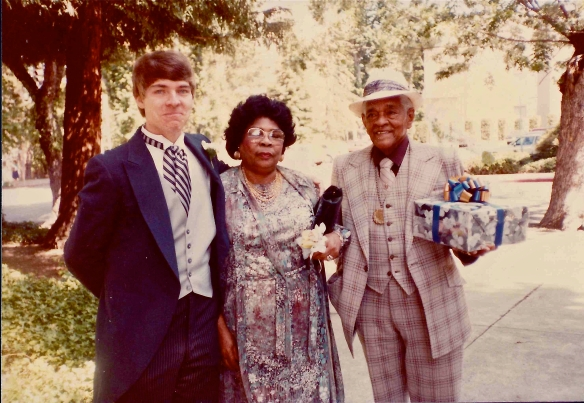 Me, Myrtle, and Andrew Davis, just before my brother's wedding, 23 June 1984.